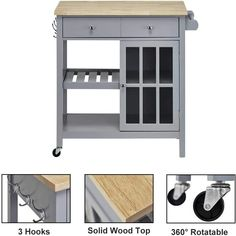 100  Farmhouse Bar Carts and Rustic Kitchen Carts for your Farmhouse Style Kitchen. We absolutely love farmhouse kitchen island carts and rustic bar carts because they are beautiful and functional. Kitchen Island Cart, Farmhouse Kitchen Island, Rustic Kitchen, Kitchen Carts On Wheels, Rolling Kitchen Cart, Farmhouse Bar Carts, Open Shelving, Shelves, Wooden Cart