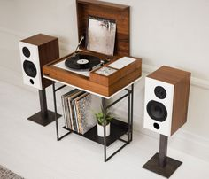 a hi-fi record console system with a retro look and wireless connectivity