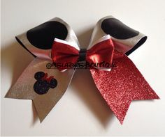 """Minnie Mouse Cheer bow Texas size 3"""" on Etsy, $18.00"""