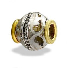 Yellow Gold and Sterling Silver Nalani Bead - Puka Bead Collection - Collections