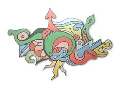 Grafidoodle Raio 1. Painel impresso e recortado em ACM (Aluminio Composto), misturando os estilos grafite e dooodle.