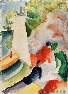 August Macke: Picknick am Strand. Art Print, Canvas on Stretcher, Glass Print August Macke, Franz Marc, Cavalier Bleu, Beach Canvas Art, Poster Prints, Art Prints, Posters, Beach Picnic, Art Moderne