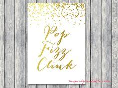 sign pop fizz clink gold foil signage