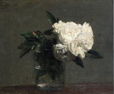 Ignace-Henri-Jean-Théodore Fantin-Latour >> Roses 14 | (huile, reproduction, copie, tableau, oeuvre, peinture).
