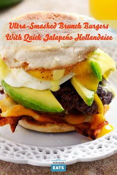 Perhaps the greatest hangover killer ever invented, this brunch-themed smash burger has it all: crispy, lacy smashed beef patties, a fried egg, melted cheese, avocado, bacon, and a jalapeño-and-lime-infused Hollandaise.