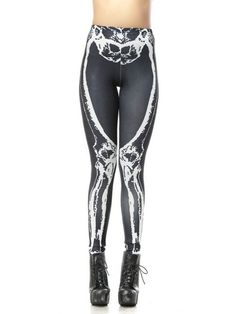 Sexy Halloween Skeleton Printed High Waist Slim Stretch Pencil Pants For Women