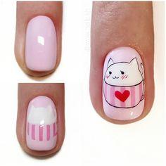 Cat Nail Art, Animal Nail Art, Cartoon Nail Designs, Nail Art Designs, Diy Kawaii Nails, Korea Nail Art, Mickey Nails, Nail Art Brushes, Nail Art Hacks