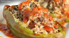 Chef John's Stuffed Peppers Stuff green bell peppers with a mixture of rice, ground beef and pork sausage for a simple and satisfying supper. Beef Dishes, Food Dishes, Main Dishes, Side Dishes, Meat Recipes, Dinner Recipes, Cooking Recipes, Pepper Recipes, Gourmet