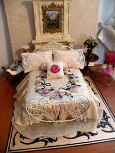 """Dollhouse Miniature 1:12 Scale Artisan Made Dressed """"Haleigh"""" Wrought Iron Bed"""