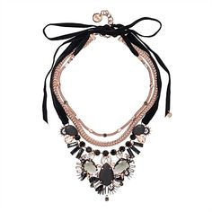 Mimco Tactilia necklace - glass crystals, leather-look covered stones and an embellished foxtail chain are contrasted with a sensual touch of velvet. Beautiful!!