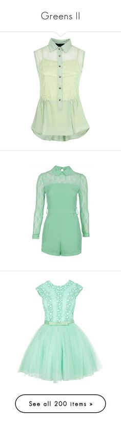 """Greens II"" by glow-kit ❤ liked on Polyvore featuring tops, shirts, tank tops, blouses, peplum shirt, green peplum top, green shirt, sleeveless peplum shirt, lace insert top and jumpsuits"