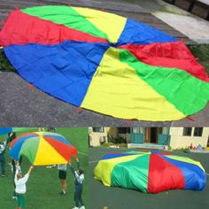 12 Feet Large Parachute 16 Handles Group Play Exercise Indoor Outdoor Team Kids #Unbranded