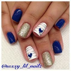 LOVE the little hearts on the nails! #BlueNails #HeartNails #WhiteNails #NailArt