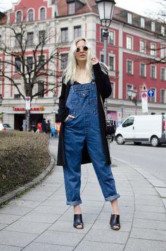 Lotta-Liina Love - Urban Outfitters Denim Dungarees, River Island Leather Mules, Zara Quilted Boy Satchel, Bik Bok Black Basic Duster - Big Girl Pants Vol.2 | LOOKBOOK