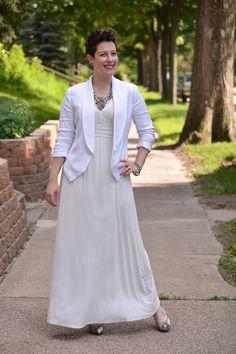 Already Pretty outfit featuring white maxi dress, white tuxedo blazer, skull bracelets, rhinestone statement necklace