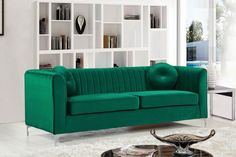 Meridian Isabelle Green Velvet Sofa - 612Green-S
