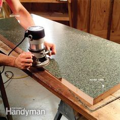 Make a Plastic Laminate Table Top: Trim the laminate.  Read more: http://www.familyhandyman.com/kitchen/countertops/make-a-plastic-laminate-table-top/view-all