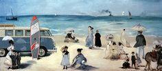 "Édouard Manet, Der Strand von Boulogne-sur-Mer (1869) – VW Typ 2 ""Bulli"", F2 Surfboard PRO RIDE Inflatable SUP"