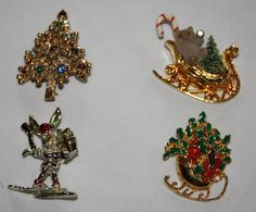Vintage Christmas Holiday Pins  Four Pins and by ilovevintagestuff