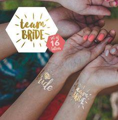 Team Bride Temporary Tattoos Hen Night Party Accessory Badges Alternative x 16