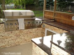 Faux stone in outdoor kitchen area