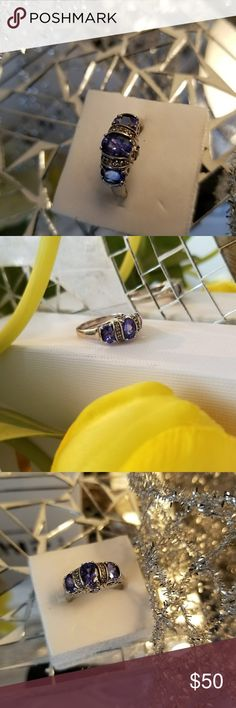 "Kutamani Tanzanite Silver Ring 1.91 ctw oval and round tanzanite; .12 ctw topaz; sterling silver. Measures approximately 5/16"" x 1/16"". Very pretty ring. Jewelry Rings"