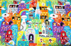 Japanese Fabric Future town. $4.75, via Etsy.