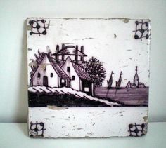 Antique Dutch Tile,Manganese Coloured,Depicting A Dutch Farmhouse,Church,Sailingboats. 18th century? door VasioniVintage op Etsy