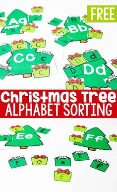 Christmas Tree Alphabet Sorting - Life Over Cs - Season Dress Educational Activities For Kids, Sorting Activities, Alphabet Activities, Language Activities, Hands On Activities, Preschool Activities, Preschool Education, Teaching The Alphabet, Learning Letters