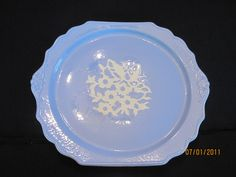 Harker blue Cameo Rose 12 1/4 cake plate by EmmaPhidelia on Etsy, $35.00