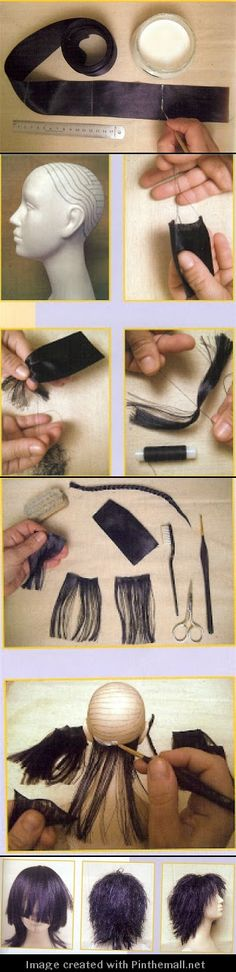 doll hair tutorial created via httppinthemallnet 2 Doll Wigs, Doll Hair, Doll Crafts, Diy Doll, Doll Making Tutorials, Doll Tutorial, Paperclay, Sewing Dolls, Clay Dolls
