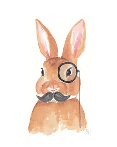 Rabbit Watercolor - Original Painting, Bunny Illustration, Monocle, Mustache