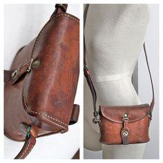 vintage WWII leather binocular case // Schindler & by RedTuTuRetro