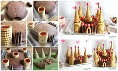 Gâteau château de princesse avec des cornets et des mini tartes