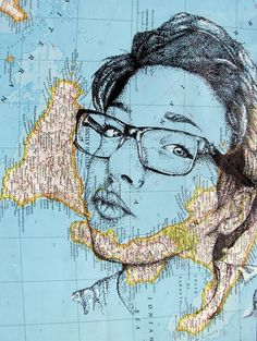 Pen & Ink Stippled Portraits on Map Ground - Conway High School Art Project