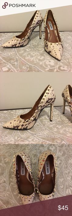 Snakeskin Steve Madden heels! Size 7 gorgeous Steve Madden heels with gold stud pattern. Worn a few times (less than 3) and unfortunately are too small for me. I have received numerous compliments the few times I have worn them and hate to see them go! They are in great condition and are absolutely gorgeous! Steve Madden Shoes Heels