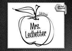 Hand Drawn Apple Teacher Gift  Rubber Stamp by Designologist, $26.00