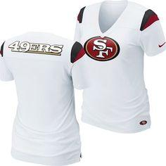 9c3927fe4c0 San Francisco 49ers Women s NIKE NFL Fashion V-Neck T-Shirt (White)