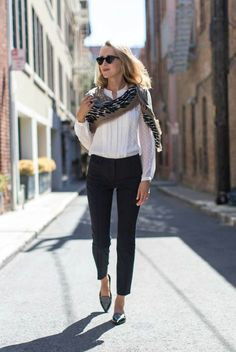 spring / summer - street style - street chic style - summer outfits - fall outfits - business casual - work outfits - office wear - white collarless shirt + black ankle pants + black pointy toe flat shoes + black clubmaster sunglasses + navy and beige scarf