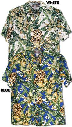 49e8c9d2 Jungle Pineapple Men's Hawaiian Tropical Aloha RJC Kalaheo Label Shirt  created in Black, White and
