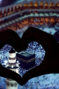 The Holy Ka'bah at Masjid Al-Haram.