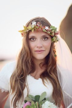 Beach Bride with Flower Crown Bride Groom, Wedding Bride, Diy Wedding, Wedding Blog, Flower Crown Bride, Flower Crowns, Orange County Beaches, Coastal Wedding Inspiration, Beach Wedding Photos