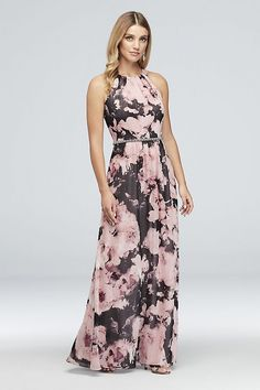 Floral Crinkle Chiffon Sheath with Beaded Waist  7bc0910bfc4d