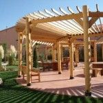 Add Style to Your Pergola. Install your pergola along the entire length of the house, similar to an awning. It can extend out farther at different points to create interest and seating areas underneath. Diy Pergola, Curved Pergola, Building A Pergola, Wood Pergola, Pergola With Roof, Outdoor Pergola, Outdoor Spaces, Gazebo, Outdoor Living
