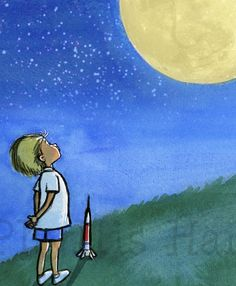Children's Wall Art Print - Little Boy and the Man in the Moon Illustration - Customizable hair color