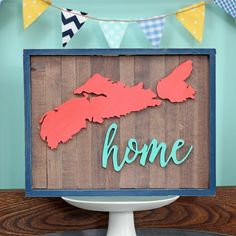 Nova Scotia Home scroll saw reclaimed wood sign in coral and teal