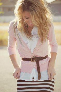 pale pink cardigan, white blouse, brown belt