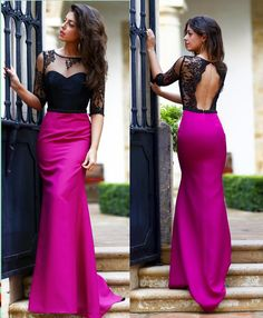 Fuchsia Satin Black Lace Half Sleeves Prom Dress Open Back Mermaid Long Formal Party Gowns For Women Custom Sexy Evening Dress, Mermaid Evening Dresses, Evening Gowns, Prom Dresses With Sleeves, Formal Dresses, Grad Dresses, Party Gowns, Party Dress, Backless Gown