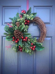 PInecone Wreaths, Winter Door Wreaths, Green Red, Winter Decor, Grapevine Wreaths Winter, Christmas Wreaths by WreathsByRebeccaB on Etsy