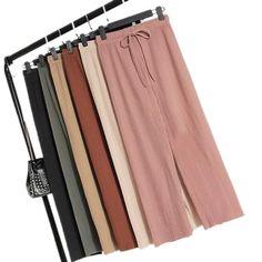 2019 rotiya Wide-leg pants female summer sense high waist 2018 new Korean version of the wild nine pants loose Ankle Length, Wide Leg Pants, High Waist, Korean, Leggings, Female, Type, Casual, Skirts
